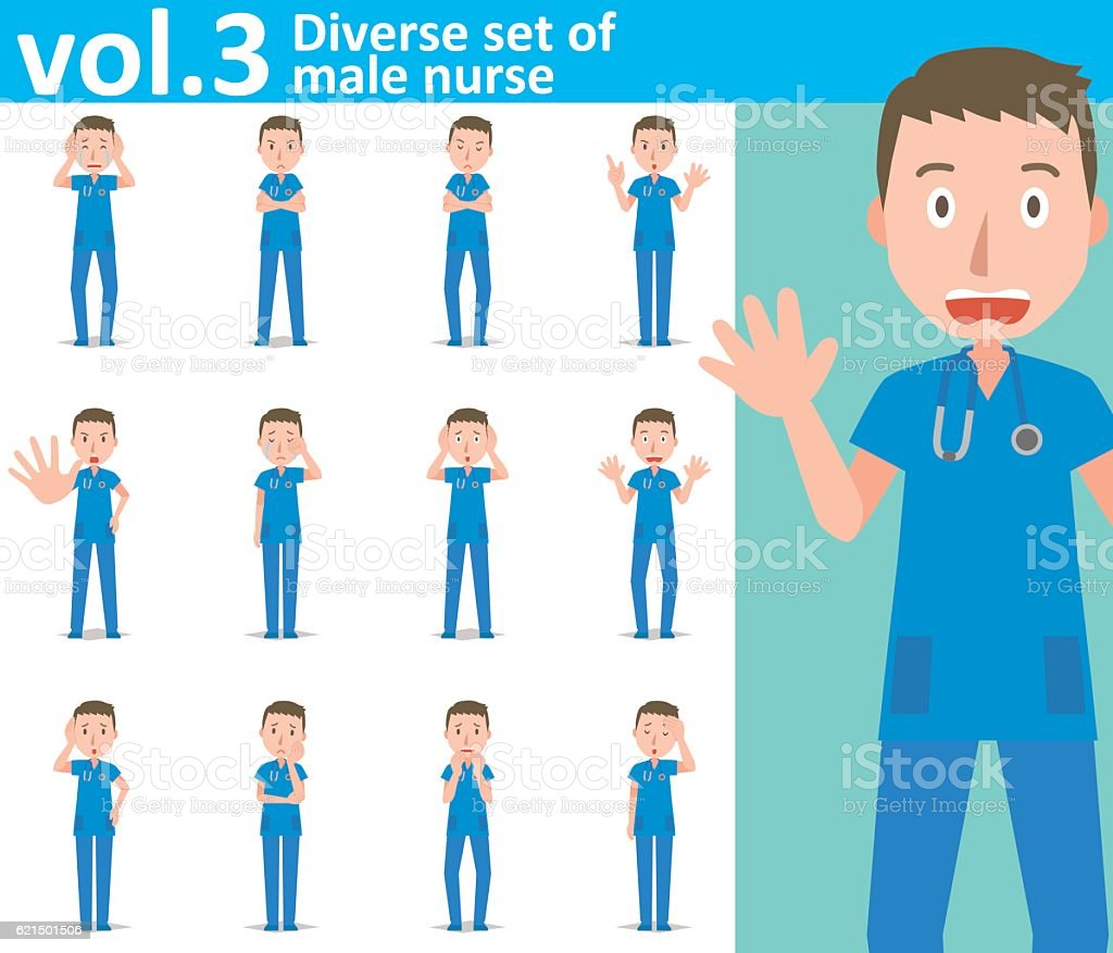 Diverse set of male nurse , EPS10 vector format vol.3 diverse set of male nurse eps10 vector format vol3 - immagini vettoriali stock e altre immagini di adulto royalty-free