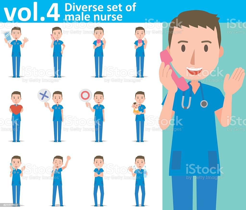 Diverse set of male nurse  , EPS10 vector format vol.4 diverse set of male nurse eps10 vector format vol4 - immagini vettoriali stock e altre immagini di adulto royalty-free