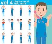 Diverse set of male nurse  , EPS10 vector format vol.4