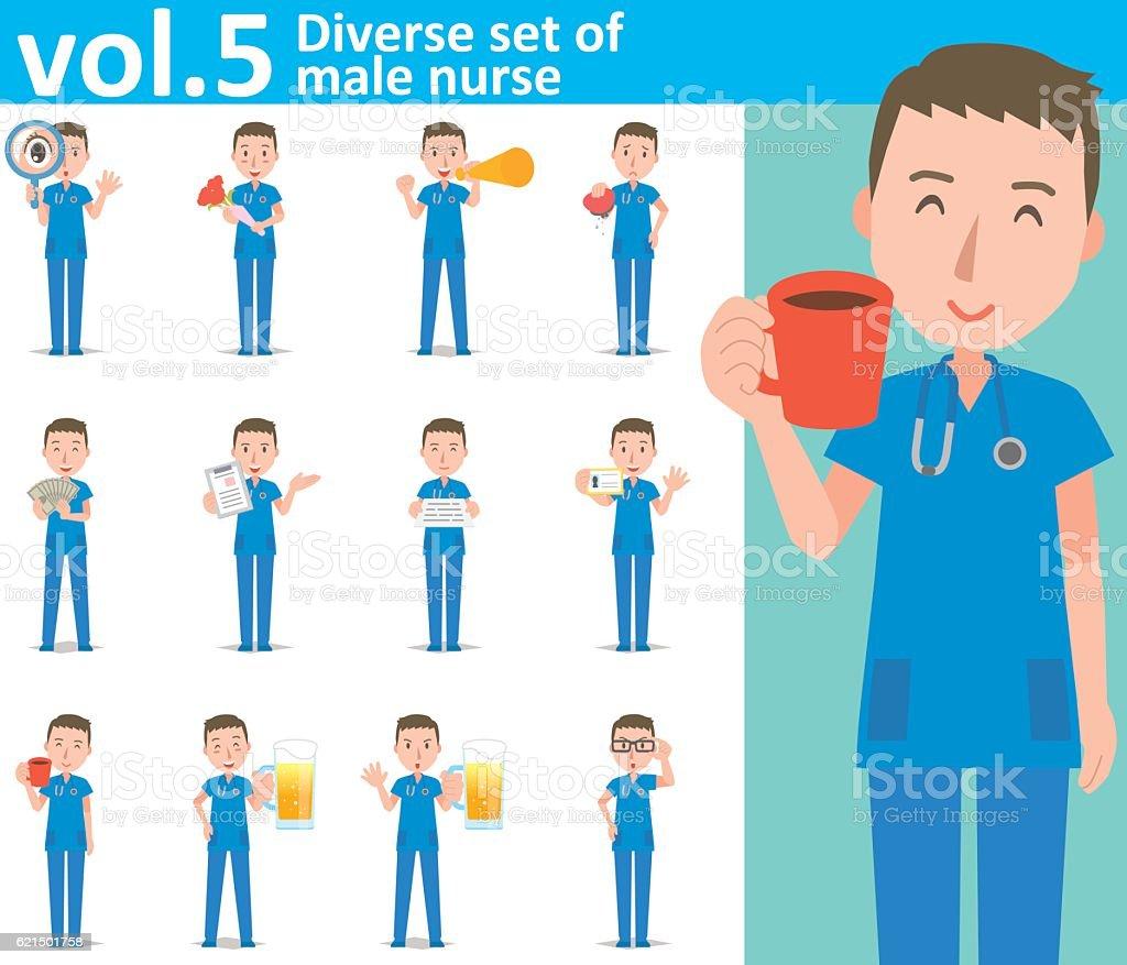 Diverse set of male nurse, EPS10 vector format vol.5 Lizenzfreies diverse set of male nurse eps10 vector format vol5 stock vektor art und mehr bilder von armut