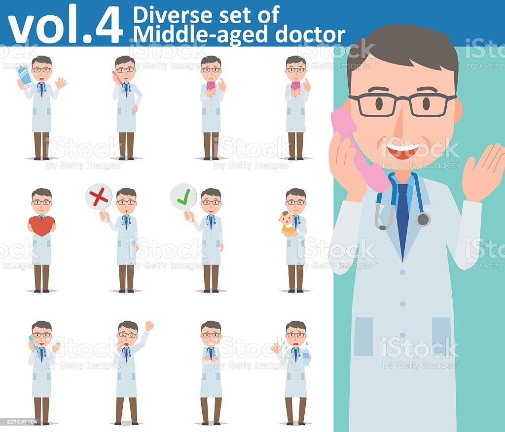 Diverse set of Middle-aged doctor on white background vol.4 - ilustración de arte vectorial