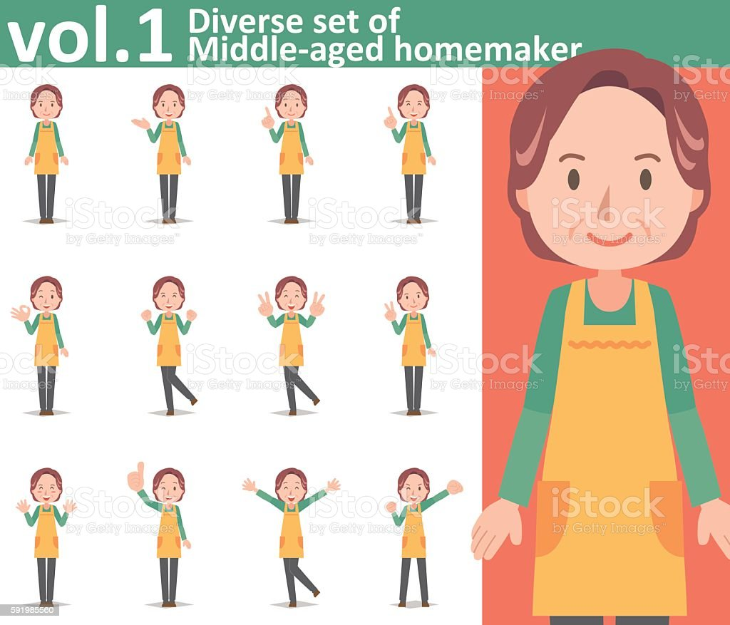 Diverse set of middle-aged homemaker wearing an apron vol.1 ベクターアートイラスト