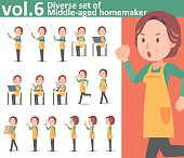Diverse set of middle-aged homemaker wearing an apron vol.6