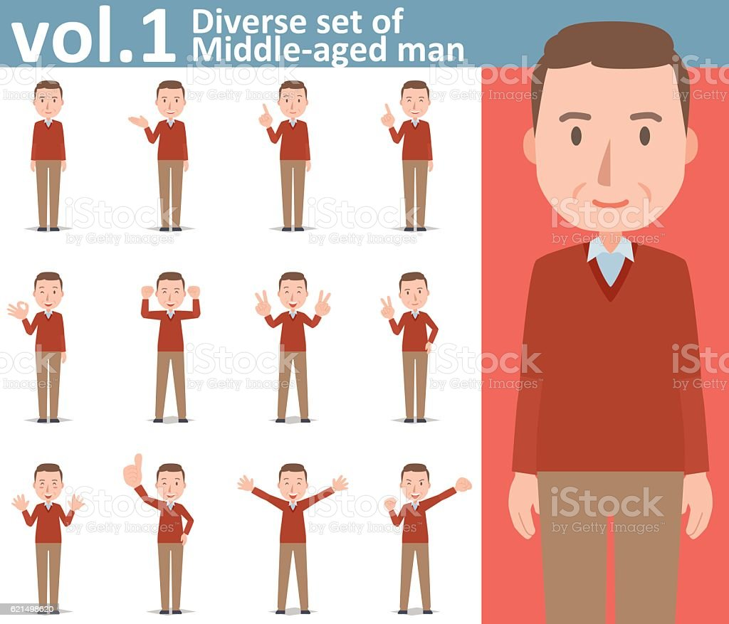 Diverse set of Middle-aged man , EPS10 vector format vol.1 diverse set of middleaged man eps10 vector format vol1 – cliparts vectoriels et plus d'images de adulte libre de droits