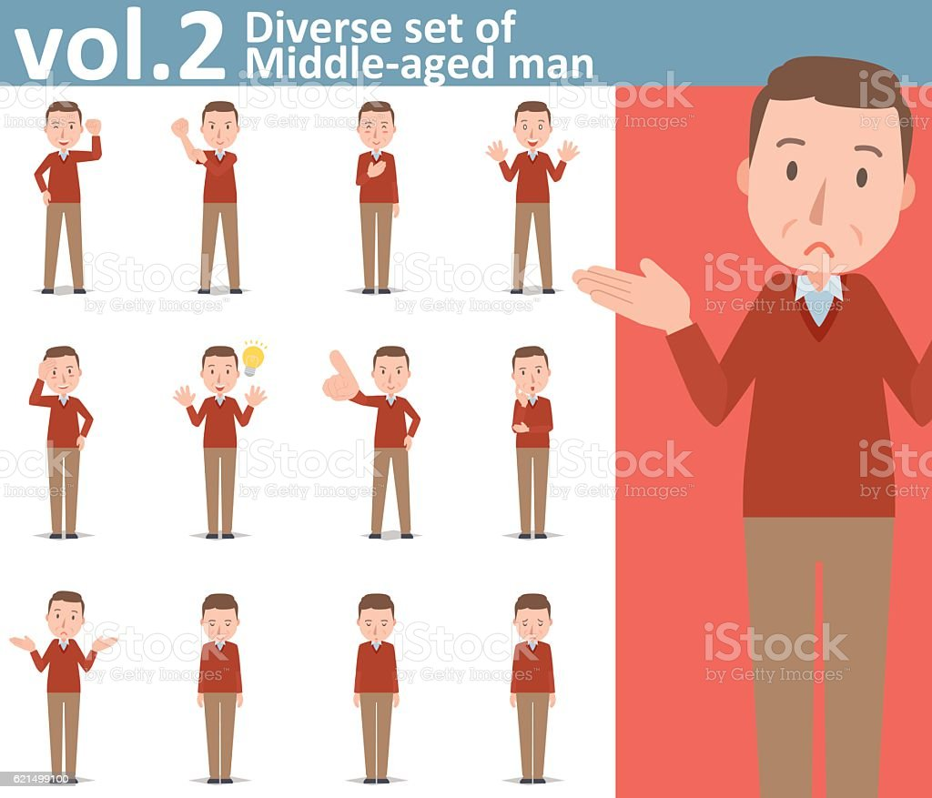 Diverse set of Middle-aged man  , EPS10 vector format vol.2 diverse set of middleaged man eps10 vector format vol2 - immagini vettoriali stock e altre immagini di adulto royalty-free