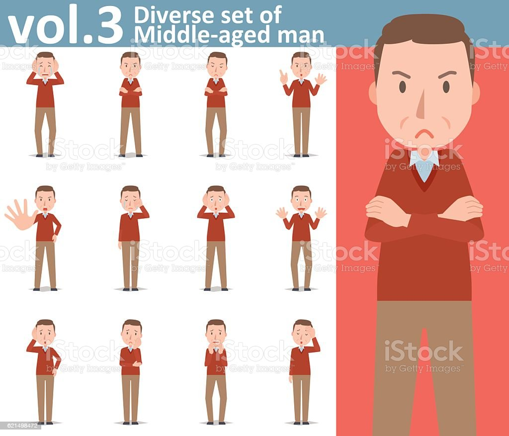 Diverse set of Middle-aged man  , EPS10 vector format vol.3 diverse set of middleaged man eps10 vector format vol3 – cliparts vectoriels et plus d'images de adulte libre de droits