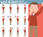 Diverse set of Middle-aged man  , EPS10 vector format vol.4