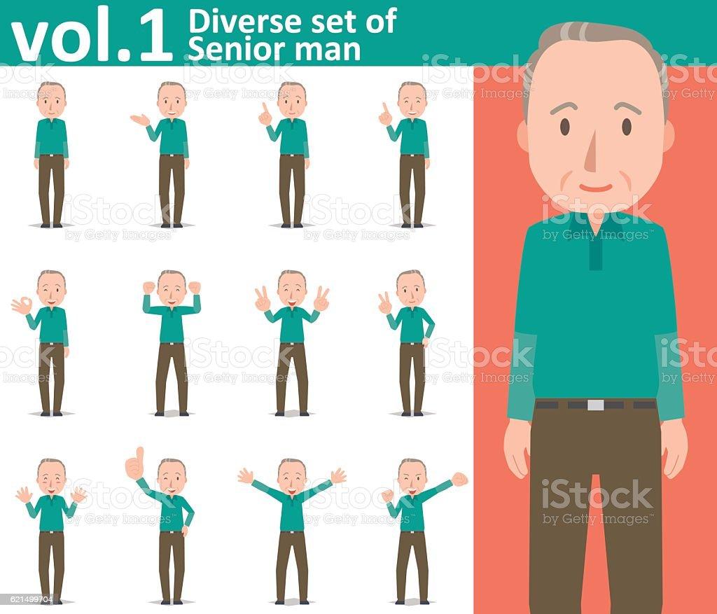Diverse set of Senior man , EPS10 vector format vol.1 diverse set of senior man eps10 vector format vol1 - immagini vettoriali stock e altre immagini di adulto royalty-free