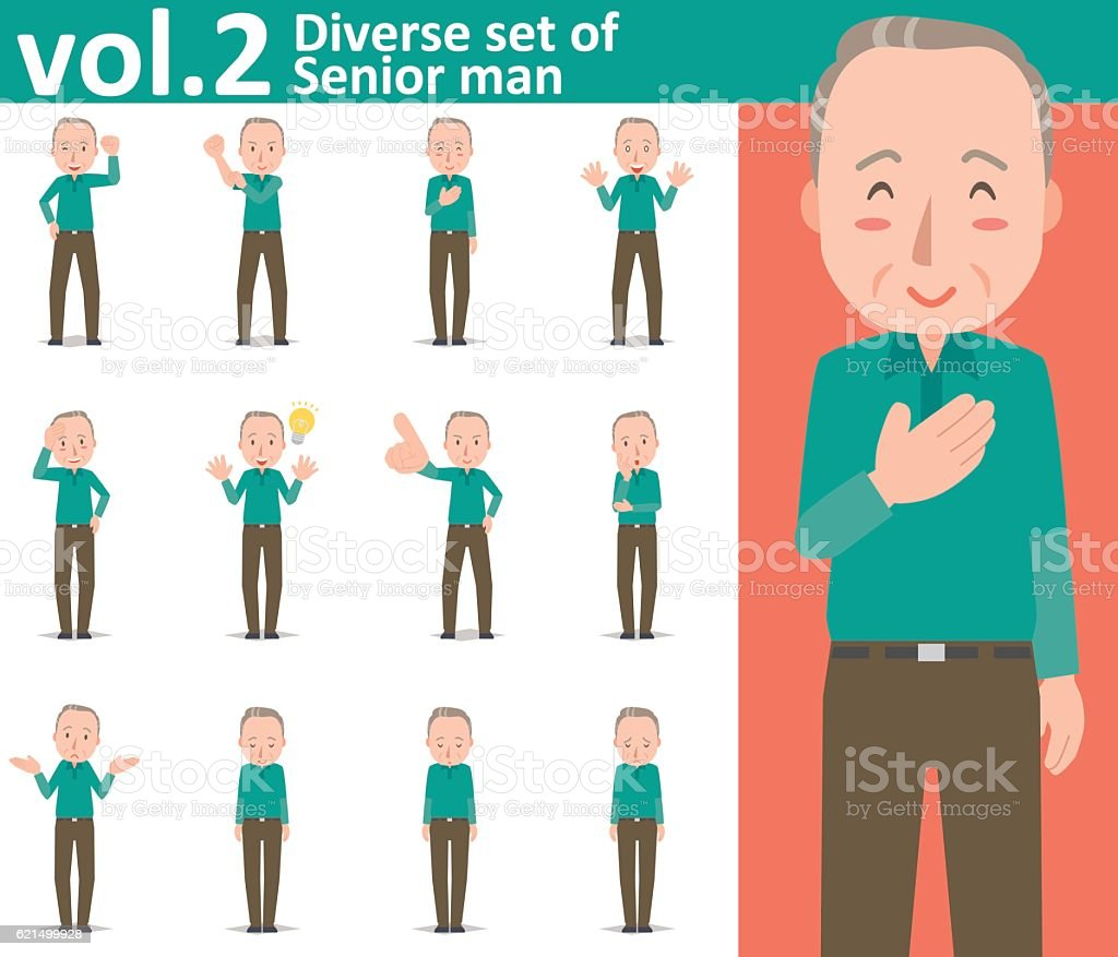 Diverse set of Senior man , EPS10 vector format vol.2 diverse set of senior man eps10 vector format vol2 - immagini vettoriali stock e altre immagini di adulto royalty-free