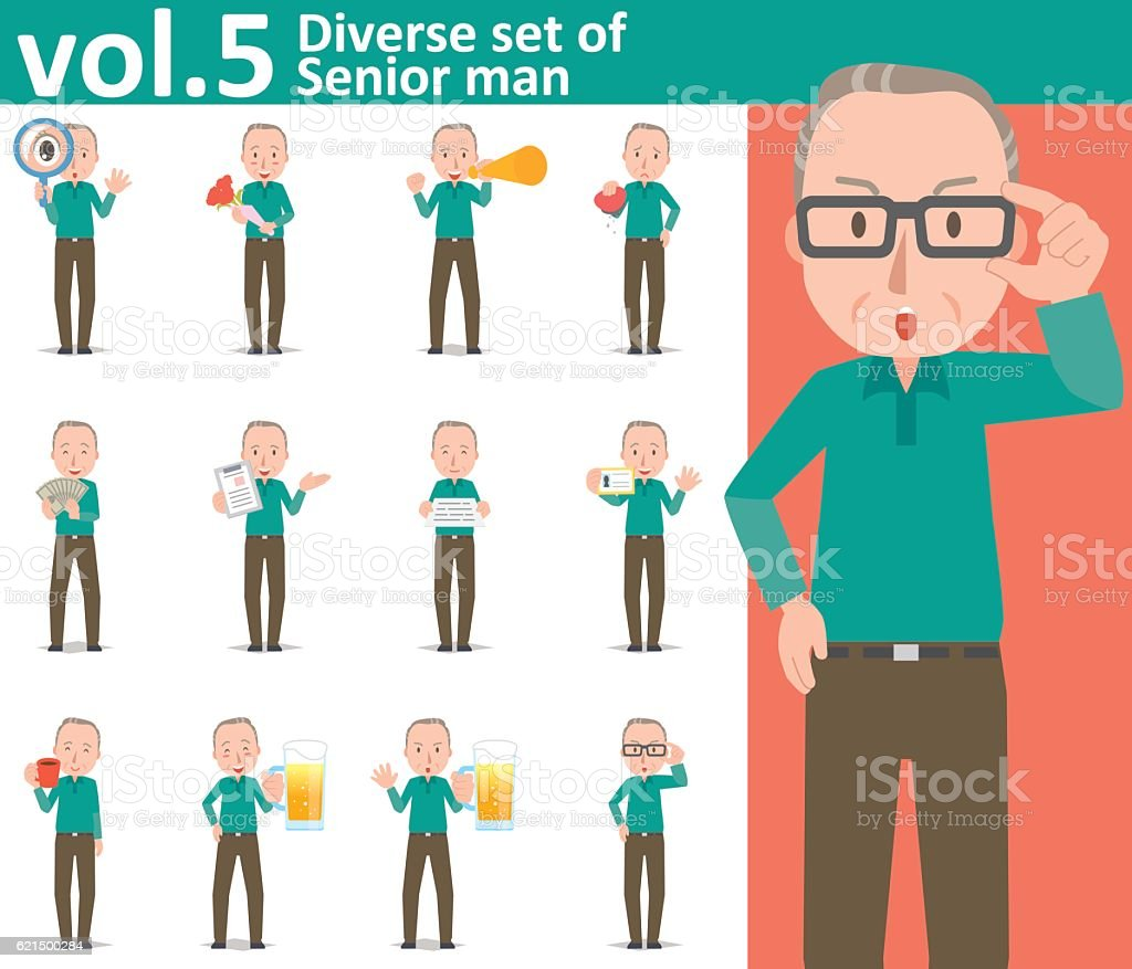 Diverse set of Senior man  , EPS10 vector format vol.5 diverse set of senior man eps10 vector format vol5 - immagini vettoriali stock e altre immagini di adulto royalty-free