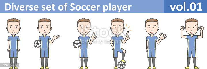 Diverse set of Soccer player, EPS10 vol.01