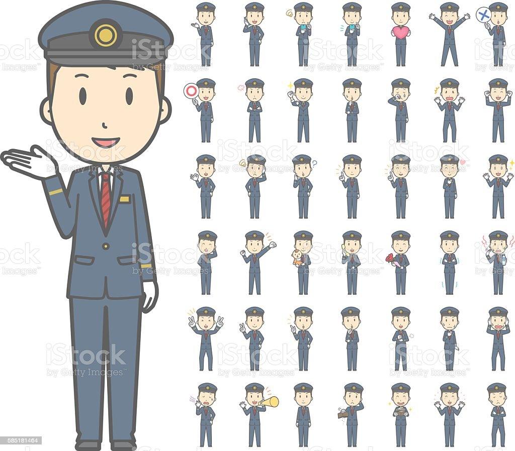 Diverse set of train conductor vol.1 ベクターアートイラスト