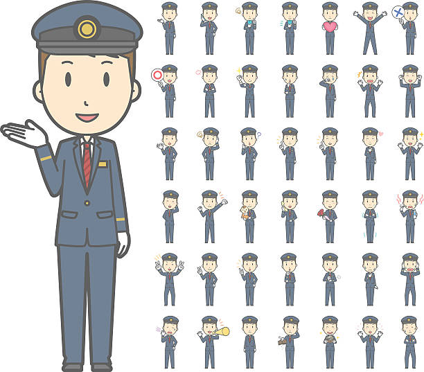 Diverse set of train conductor vol.1 vector art illustration