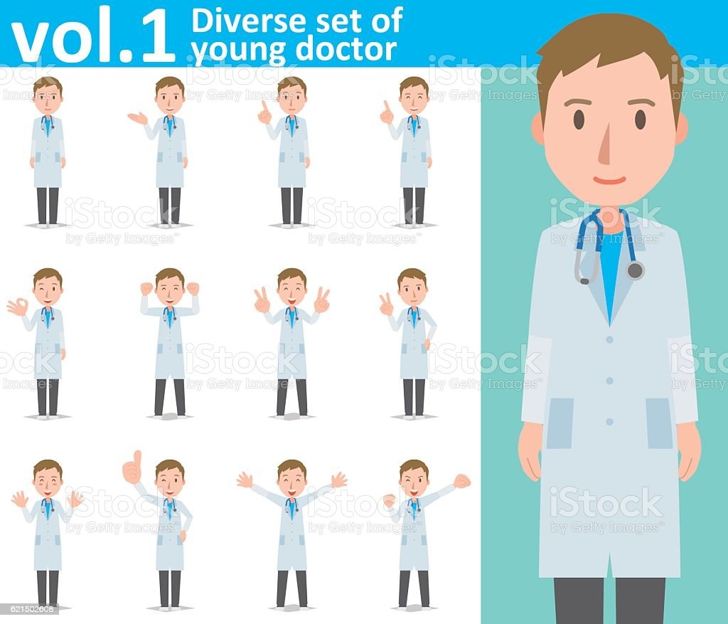Diverse set of young doctor , EPS10 vector format vol.1 diverse set of young doctor eps10 vector format vol1 – cliparts vectoriels et plus d'images de adulte libre de droits