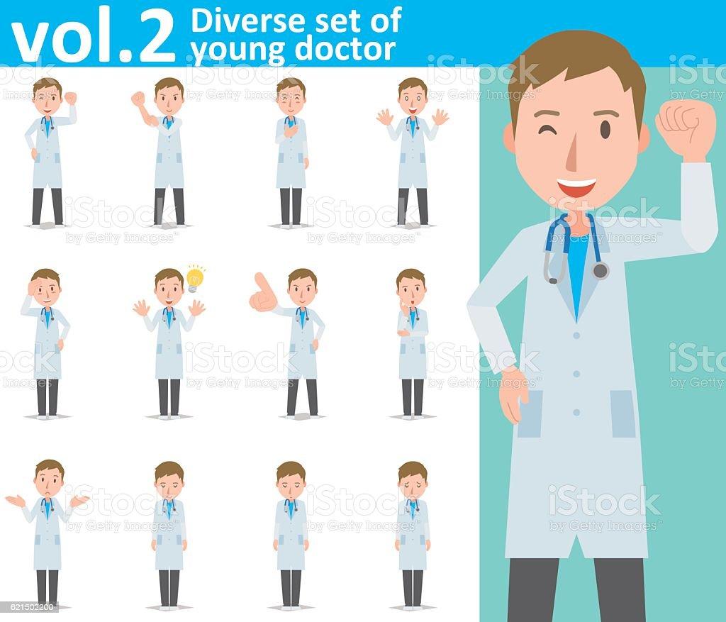 Diverse set of young doctor , EPS10 vector format vol.2 Lizenzfreies diverse set of young doctor eps10 vector format vol2 stock vektor art und mehr bilder von arzt