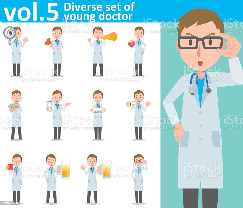 Diverse set of young doctor , EPS10 vector format vol.5 diverse set of young doctor eps10 vector format vol5 - immagini vettoriali stock e altre immagini di adulto royalty-free