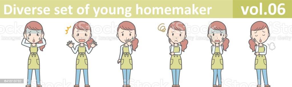 Diverse set of young homemaker, EPS10 vector format vol.06 vector art illustration