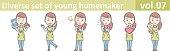 Diverse set of young homemaker, EPS10 vector format vol.07