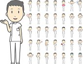 Diverse set of young male nurse on white background , eps10 vector format vol.1