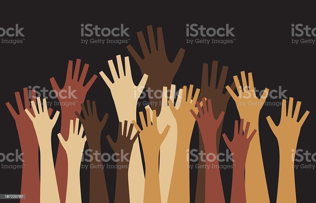 Diverse sets of hands reaching up on black background vector art illustration