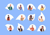Diverse multi ethnic people set waving hello on isolated white background. World wide culture mix of young millennial group.
