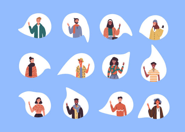 Diverse social culture young people set isolated Diverse multi ethnic people set waving hello on isolated white background. World wide culture mix of young millennial group. greeting stock illustrations