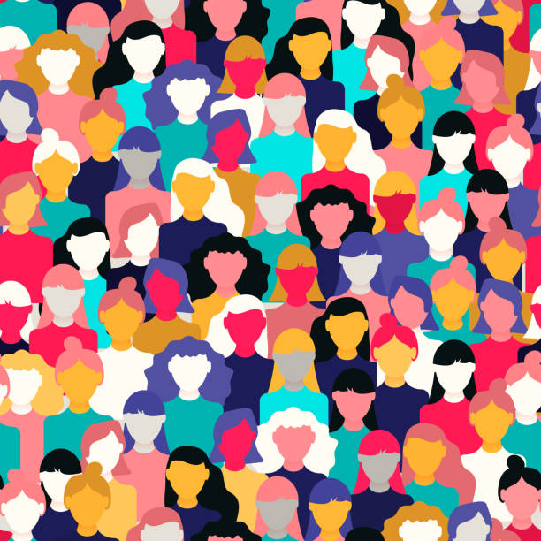 stockillustraties, clipart, cartoons en iconen met divers vrouwen menigte patroon voor vrouwendag - herhaling begrippen