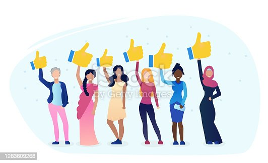 istock Diverse women hold like. Women give feedback. Business rating review. Rank rating thumb up feedback. Business suport. Your Client concept. Female best choice. Flat Cartoon Vector Illustration. 1263609268