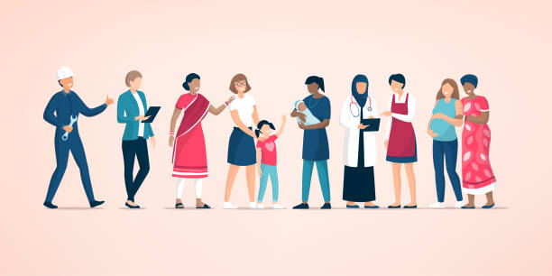 Diverse women standing together and supporting each other Diverse women standing together and supporting each other, feminism and women's day concept indian family stock illustrations
