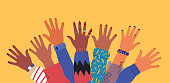 istock Diverse young people friend hands raised together 1165545549
