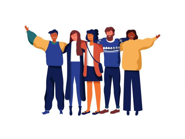 友人の多様な若者グループ - 友情点のイラスト素材/クリップアート素材/マンガ素材/アイコン素材