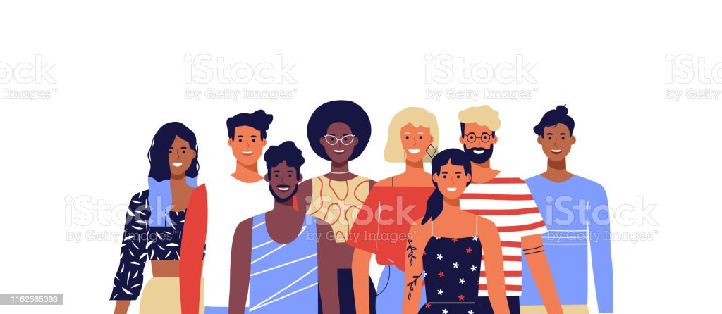 Diverse young people smiling isolated background Group of happy diverse people team. Young women and men smiling on isolated white background. Millennial generation, college students or business staff concept. Adult stock vector
