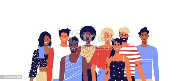 Group of happy diverse people team. Young women and men smiling on isolated white background. Millennial generation, college students or business staff concept.