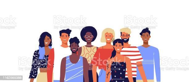 不同的年輕人微笑孤立的背景向量圖形及更多一起圖片