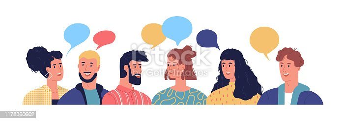 Happy young people talking with colorful chat bubbles. Diverse men and women in flat cartoon style isolated chatting for communication concept or community meeting.