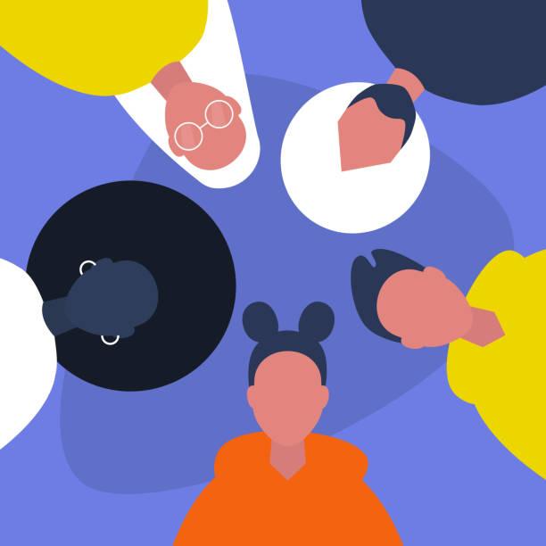 illustrazioni stock, clip art, cartoni animati e icone di tendenza di diversity. a group of friends. millennials. students. hanging out together. flat editable vector illustration, clip art - gen z