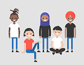 Diversity. A group of young adults. Different nationalities. International Culture. Team. Flat editable vector illustration, clip art