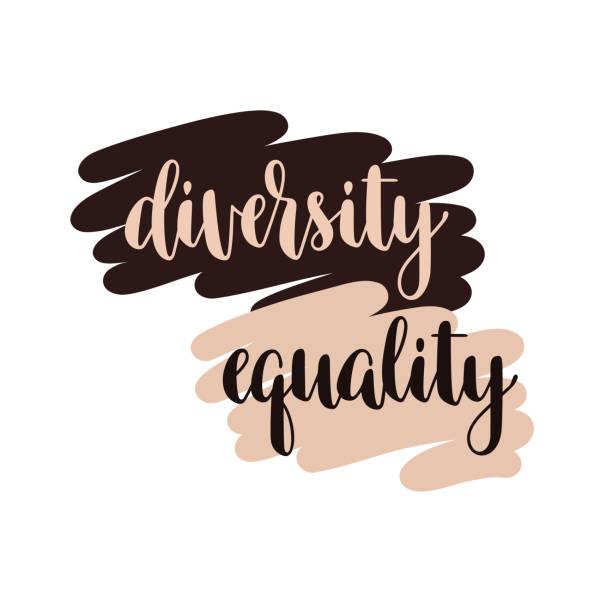 다양성 및 평등 타이포그래피 - 사회 정의 stock illustrations