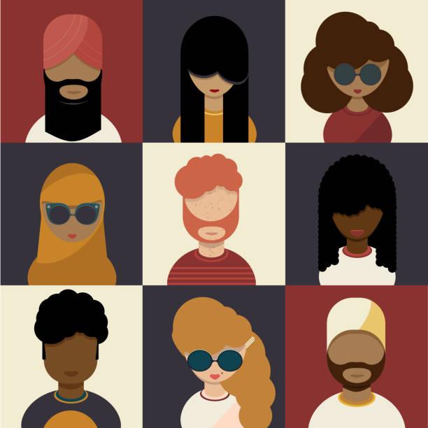 illustrations, cliparts, dessins animés et icônes de ensemble de caractères de diversité, concept multiculturel - femme tache de rousseur