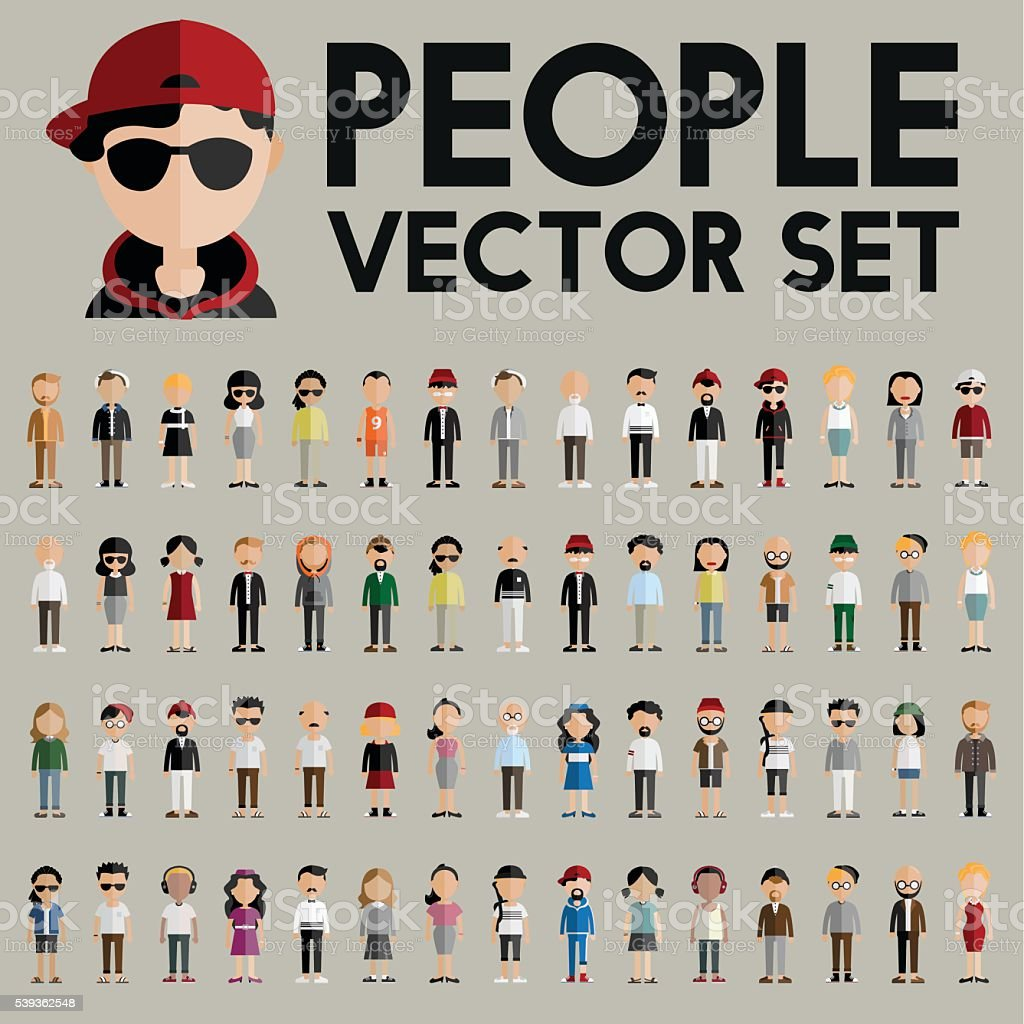 Diversity Community People Flat Design Icons Concept vector art illustration