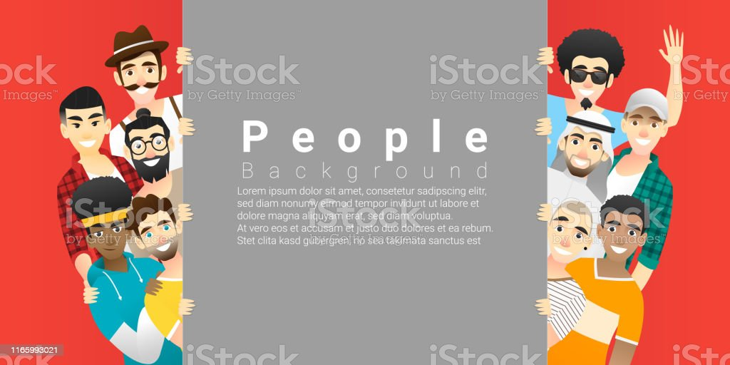 Diversity concept background , group of happy multi ethnic men standing behind empty board , vector , illustration Diversity concept background , group of happy multi ethnic men standing behind empty board , vector , illustration Adult stock vector