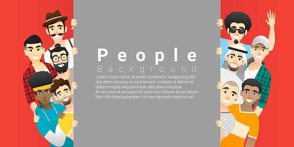 Diversity Concept Background Group Of Happy Multi Ethnic Men Standing Behind Empty Board Vector Illustration Stock Illustration - Download Image Now