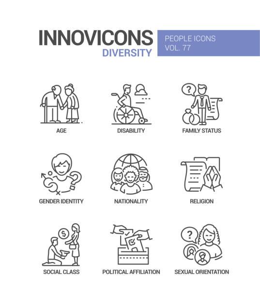 Diversity concept line design style icons set vector art illustration