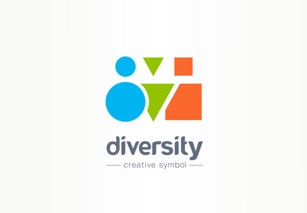 Diversity creative symbol concept. Different shape people, multiethnic community abstract business idea. Partnership, friends icon Diversity creative symbol concept. Different shape people, multiethnic community abstract business idea. Partnership, friends icon. Graphic design tamplate diversity stock illustrations