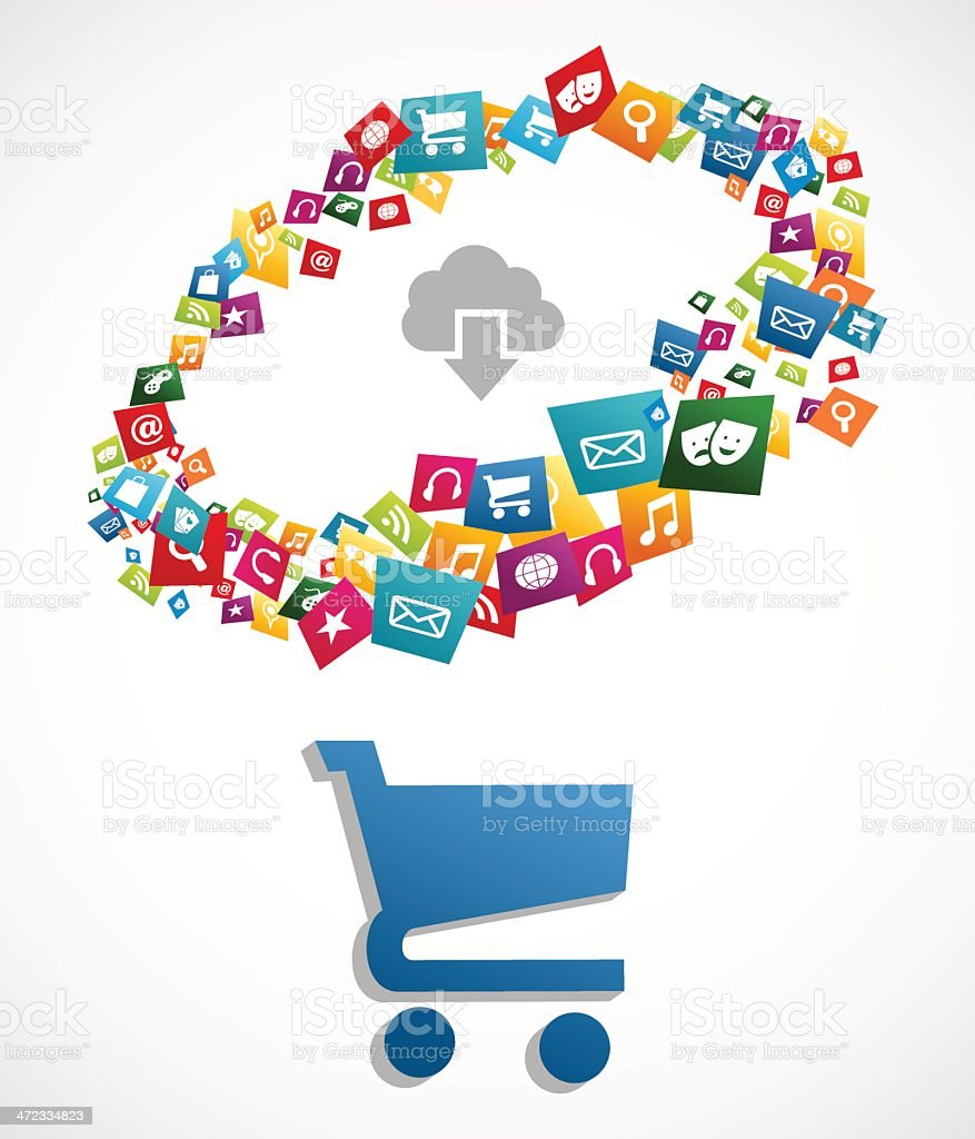 Diversity ecommerce app royalty-free diversity ecommerce app stock vector art & more images of cloud computing