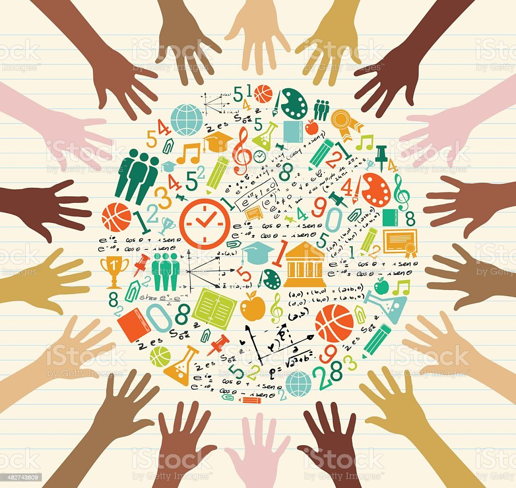 Diversity hands with education icons composition royalty-free stock vector art