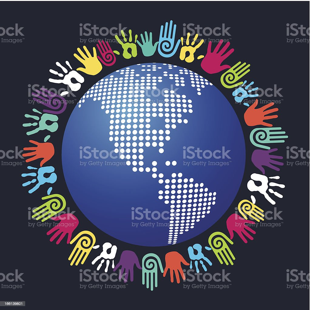 Diversity hands world royalty-free stock vector art