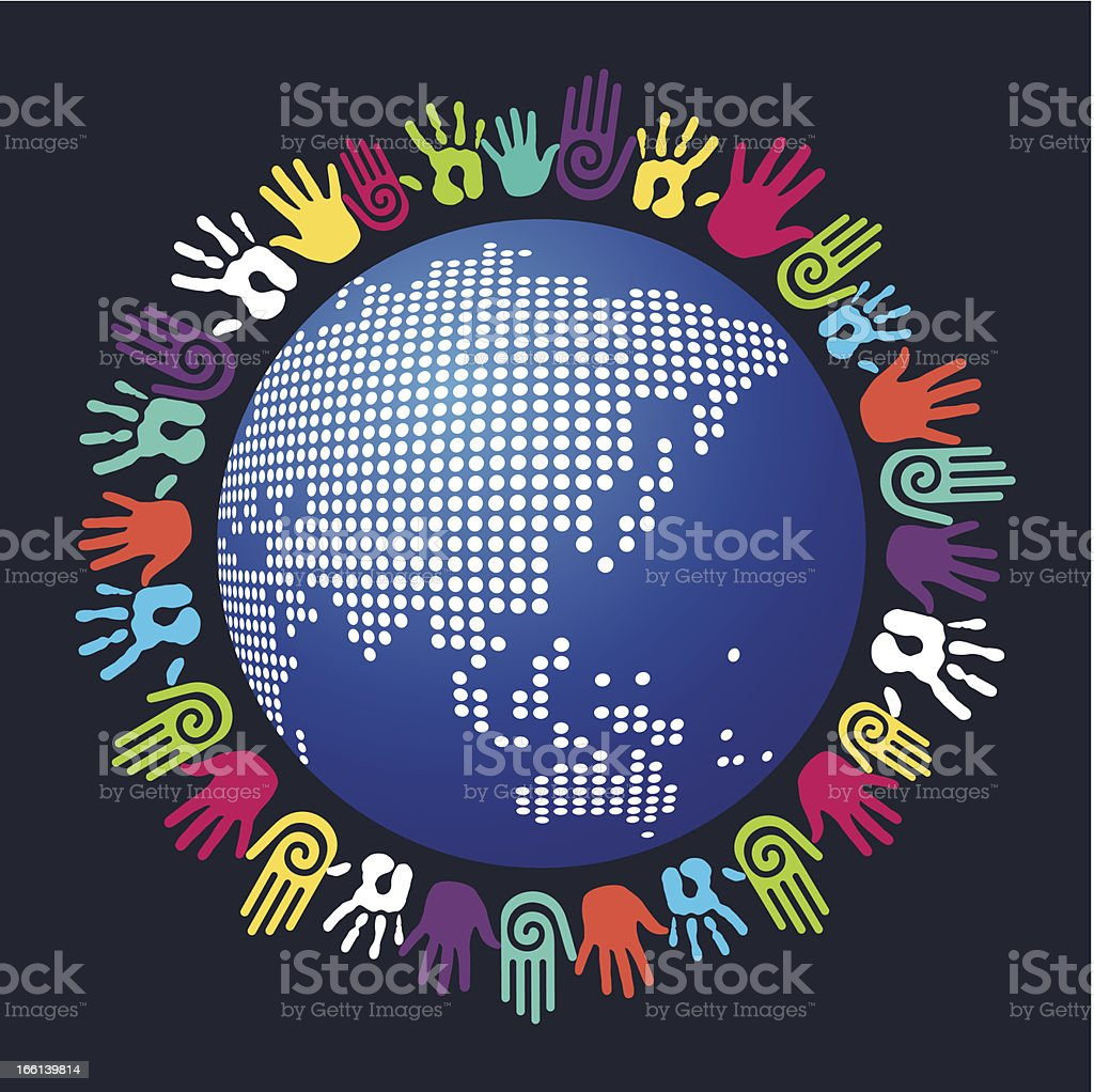 Diversity hands world royalty-free stock vector art