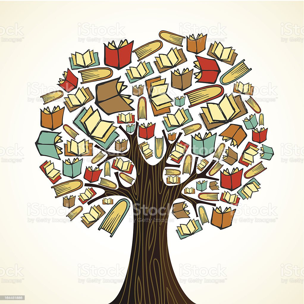 Diversity knowledge book tree vector art illustration