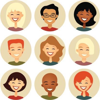 Diversity: Nine Smiling Faces in Cirles: Retro style
